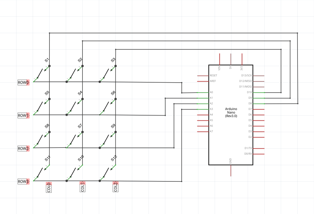 Complete Schematic Using 3x4 Keypad and Arduino Nano