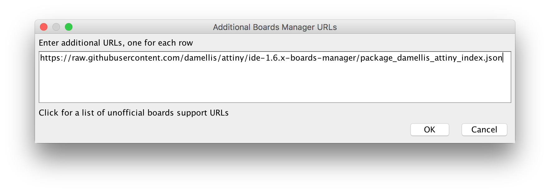 Enter the URL for the ATtiny Boards manager