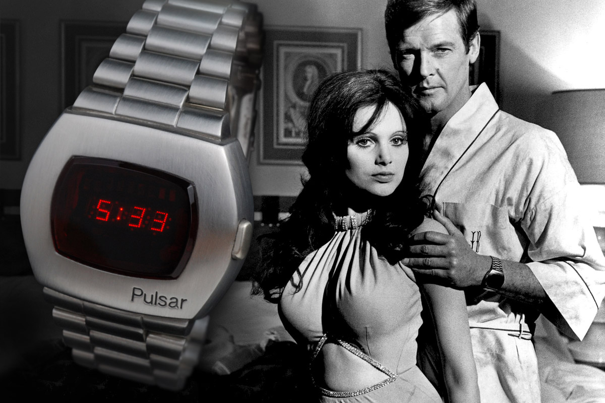 James Bond wearing Hamilton Pulsar digital watch