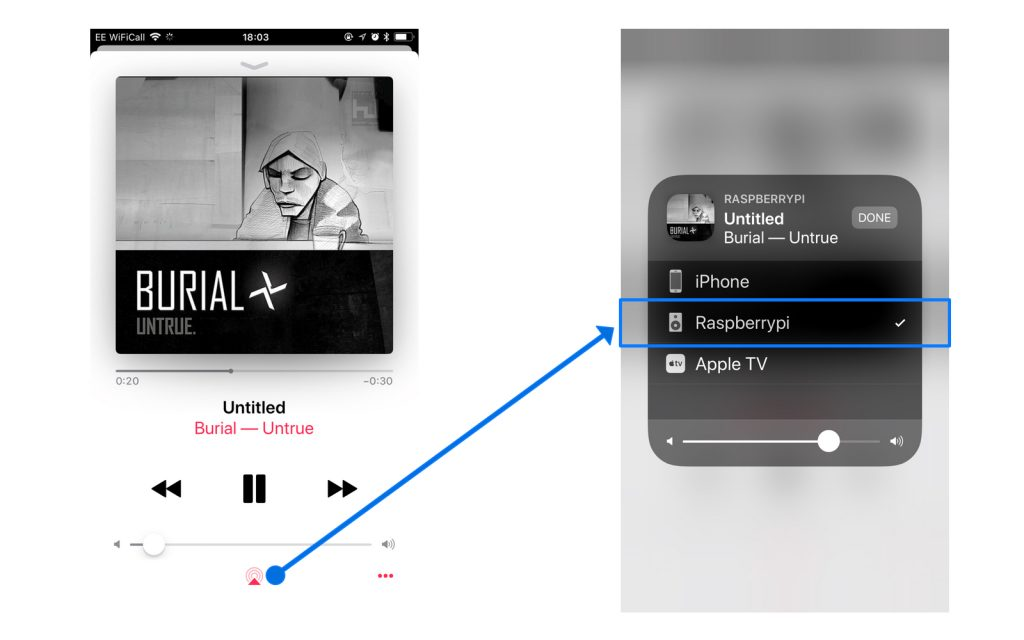 Selecting Raspberry Pi via Airplay from iPhone's Music Playback Screen